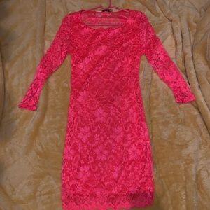 Neon Half Backless Dress: 3/4 Sleeve